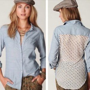 Free People Chambray Buttondown Crochet Back Shirt
